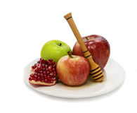 Traditional food for Rosh Hashanah,  on white Royalty Free Stock Images