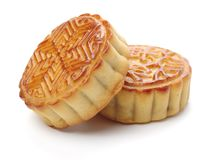 Traditional food or snack made from flour and stuffed with cereals, Often make and given in Chinese Moon Festival. Isolated on a white background stock images