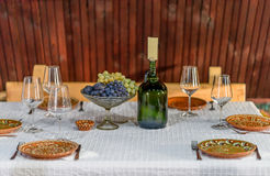 Traditional food table. At wine holiday in Moldova Royalty Free Stock Photography