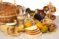 Traditional food and wine. Over gray and white background Stock Photos