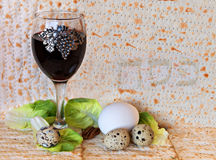 Traditional food and wine for Jewish Passover. Background with unleavened bread matzoth Stock Images