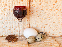 Traditional food and wine for Jewish Passover. Background with unleavened bread  - matzoth in Hebrew Stock Photography