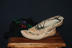 Traditional footwear from Serbia royalty free stock photo