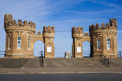 Traditional Fort Building entrance to Withernsea Beach Stock Photos