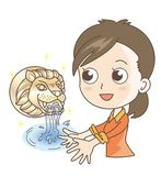 Traditional fountain - Lion tap and woman stock illustration