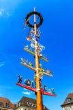 Traditional Franconian maypole in Wuerzburg, Bavaria, Germany Stock Image