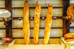 Traditional french baguette in Paris. Three Traditional french baguette in Paris Stock Images