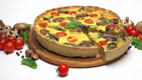 Traditional french Baked homemade quiche pie isolated stock video