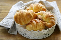 Traditional French baking puff pastry croissants Royalty Free Stock Photography