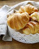 Traditional French baking puff pastry croissants Stock Photos