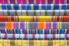 Traditional French Basque fabric display. Traditional striped French Basque fabric display Royalty Free Stock Images