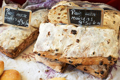 Traditional french bread with raisins Stock Images