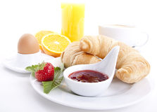 Traditional french breakfast croissant isolated Stock Photo