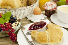 Traditional french breakfast on table in morning Stock Photography
