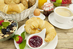 Traditional french breakfast on table in morning Royalty Free Stock Images