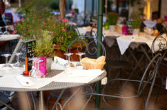 Traditional French cafe. Traditional French street cafe in Avignon Royalty Free Stock Image