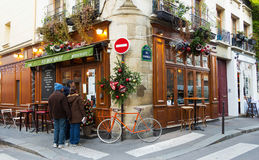 The traditional French cafe Au Bougnat decorated for Christmas, Paris, France. Stock Photos