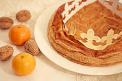 Traditional French cake, Galette des Rois. Traditional French cake for the winter holidays Royalty Free Stock Photo
