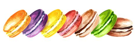 Traditional french Cake macaron or macaroon, colorful almond cookies. Watercolor hand drawn horizontal illustration, isolated on w royalty free illustration