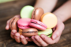 Traditional french colorful macarons Stock Image