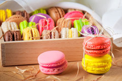 Traditional french colorful macarons in a box Royalty Free Stock Photos