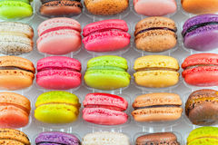 Traditional french colorful macarons in a box royalty free stock photo