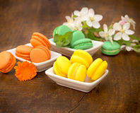 Traditional french colorful macarons - macaroons Royalty Free Stock Photography