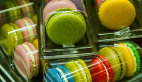 Traditional french colorful macarons in a rows in a box Royalty Free Stock Images