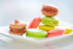 Traditional french colorful macarons in a white plate. Stock Photography