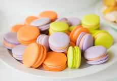 Traditional french colorful macarons Stock Images