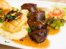Cuisine Boudin Noir on table Royalty Free Stock Photo