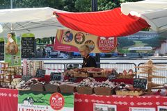 Traditional French Food Market Stall Stock Images