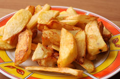 Traditional french fries. On plate stock photography