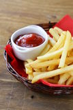 Traditional French fries with ketchup Stock Image