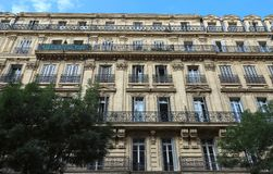 Traditional French Haussmann architecture and residential building in Marseille. Traditional French Haussmann architecture and residential building in Marseille stock image