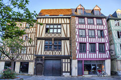 Traditional french houses on the street of Rouen Stock Photos