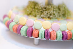Traditional french macarons on a cake stand Stock Photography