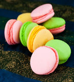 Traditional French macaroon cookies. Colorful macaroons  on the table Stock Photography