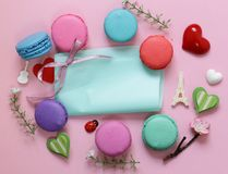 Traditional French macaroons almond cookies Royalty Free Stock Photography