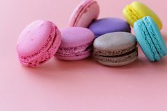 Traditional French macaroons cookies Stock Photos