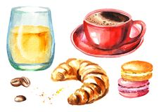 Traditional french morning breakfast set. Croissant, orange juice, cup of coffee, coffee beans. Watercolor hand drawn illustration stock illustration