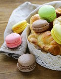 Traditional French pastries croissants and macaroons Royalty Free Stock Photography