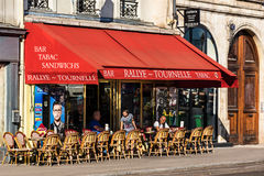 Traditional french restaurant on the Tournelle Quay. Paris, Fran Royalty Free Stock Photography