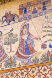Traditional fresco at the wall of a Haveli house in Bikaner, India Stock Photography