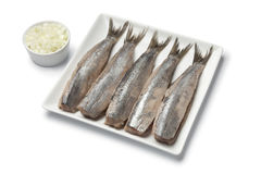 Traditional fresh herring with onions Royalty Free Stock Photo
