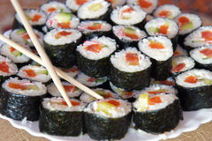 Traditional fresh japanese sushi rolls Stock Photo