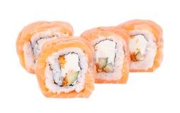 Traditional fresh japanese sushi rolls on white background Stock Image