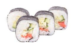 Traditional fresh japanese sushi rolls on white background Stock Photography