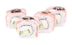Traditional fresh japanese sushi rolls on white background Stock Images