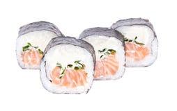 Traditional fresh japanese sushi rolls on white background Royalty Free Stock Photo